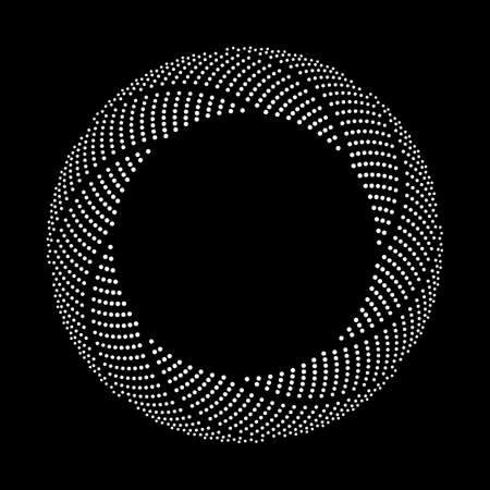 Design spiral dots backdrop. Abstract monochrome background. Ilustracja