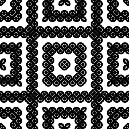 Design seamless monochrome grating decorative pattern. Abstract square background.