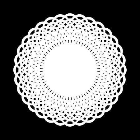 Design monochrome decorative circle element. Abstract grating backdrop.