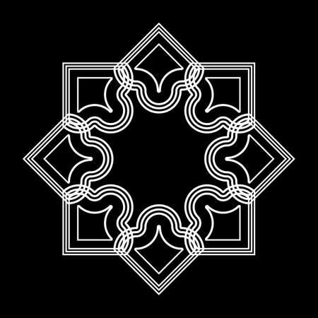 Design monochrome decorative snowflake element. Abstract grating backdrop. Vector-art illustration