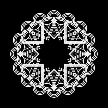 Design monochrome snowflake decorative element. Abstract circle isolated backdrop. Vector-art illustration Ilustracja