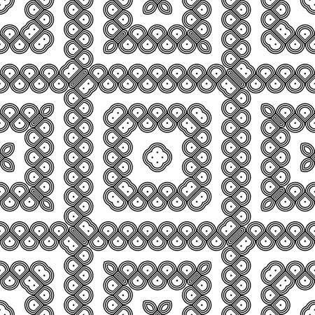 Design seamless monochrome grating decorative pattern. Abstract square background. Vector art Ilustracja