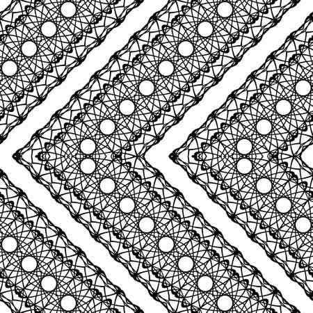 Design seamless zigzag decorative pattern. Abstract monochrome grating background. Vector art Ilustracja