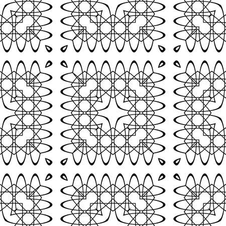 Design seamless decorative lacy pattern. Abstract square monochrome background. Vector art Vector Illustration