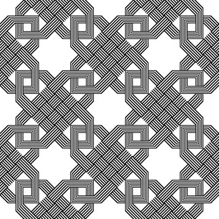 Design seamless monochrome ornamental pattern. Abstract geometric background. Vector art