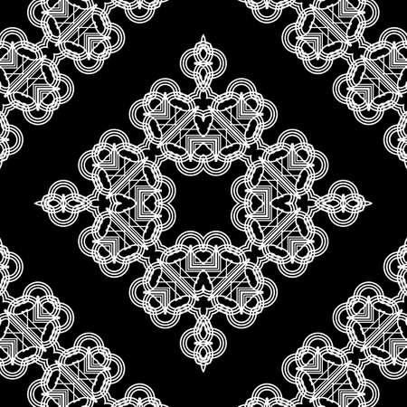 Design seamless decorative lacy pattern. Abstract diamond monochrome background. Vector art Vecteurs
