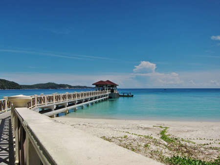 View of beautiful turquoise coloured sea with the jetty.