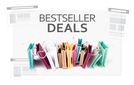 sold small: Bestseller Deals text. E-commerce online shopping concept. Miniature of reusable grocery bags.