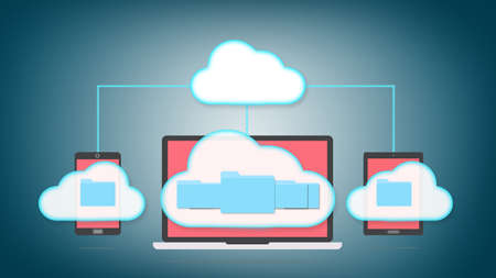 gigabyte: Devices of smart phone, tablet and laptop with folders in the cloud. Cloud storage concept. Stock Photo