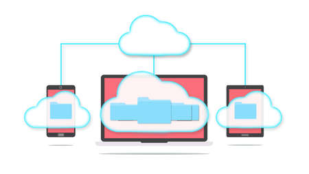 Devices of smart phone, tablet and laptop with folders in the cloud. Cloud storage concept. Stock Photo