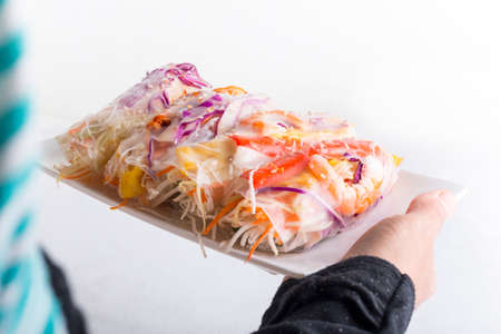 Vietnamese spring-roll on a white plate on a white background