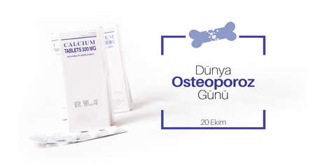 Calcium supplement pill with text of Dunya Osteoporoz Gunu (Turkish translation of World Osteoporosis Day)