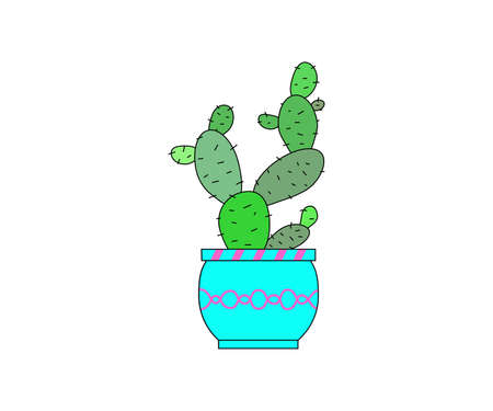 Illustration of a green cactus in a pot over white background