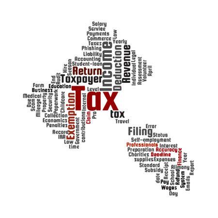 Tax topic word cloud. Gavel shape. White background. Stock Photo