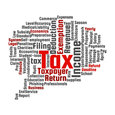Tax word cloud on a white background. 스톡 콘텐츠