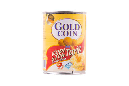 Selangor, Malaysia: February 12, 2018 - Gold Coin Sweetened Creamer, product of F&N Dairies, wholly owned subsidiary of F&N Holdings Berhad and is a major manufacturer of sweetened milk, milk and dairy products, pasteurised juices, and ice cream in Malays