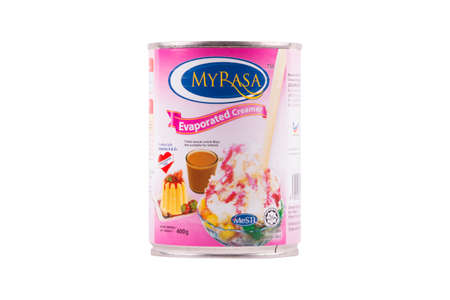 Selangor, Malaysia: February 12, 2018 - MYRASA Evaporated Creamer is a Malaysian product focusing on food manufacturing. Editorial