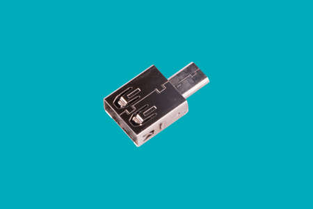 USB drive adapter isolated over blue background.