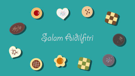 Vector illustration of traditional cookies served during Aidilfitri festival Illustration