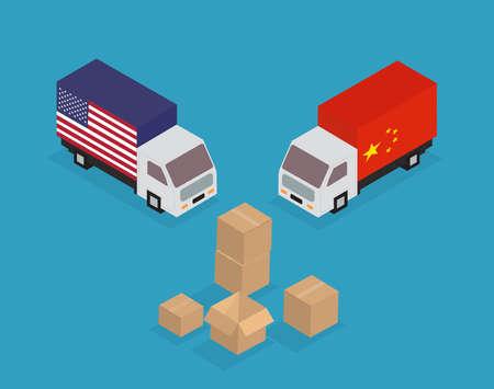 China, United States trade war concept. Vector illustration. Vektoros illusztráció
