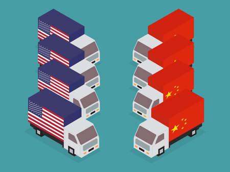 China, United States trade war concept. Vector illustration.