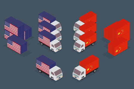 China, United States trade war concept. Vector illustration. Иллюстрация