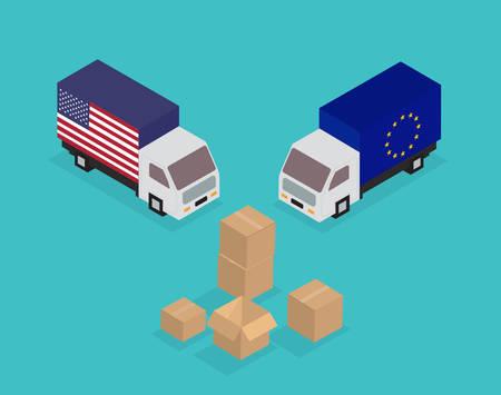 European Union, United States trade war concept. Vector illustration.