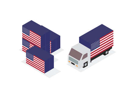 USA lorry container. Vector illustration. Иллюстрация
