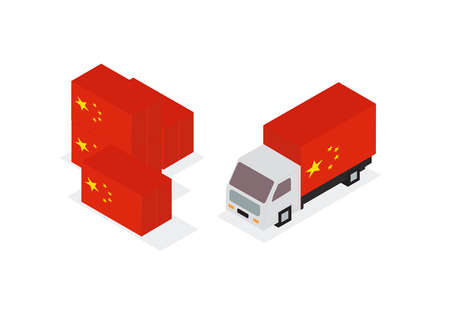 China lorry container. Vector illustration. Ilustrace