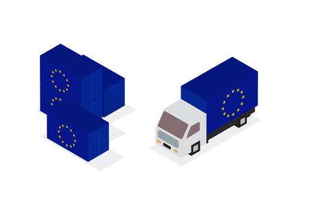 European Union lorry container. Vector illustration. Illusztráció