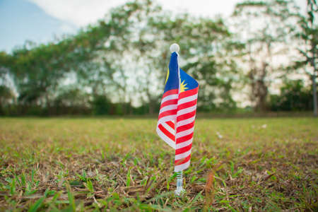 Independence Day concept -  Malaysian flag on a green field. Stock Photo