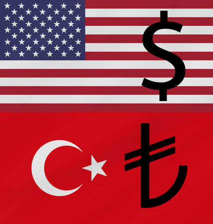 USA and Turkey flags with their currencies. Dollar and Lira. Concept of United States of America and Turkey trade war.