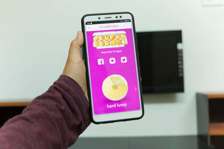 Negeri Sembilan, Malaysia - August 30, 2018: KnowYourLemons application on smartphone. It is a breast health application dedicated for every womans phone.