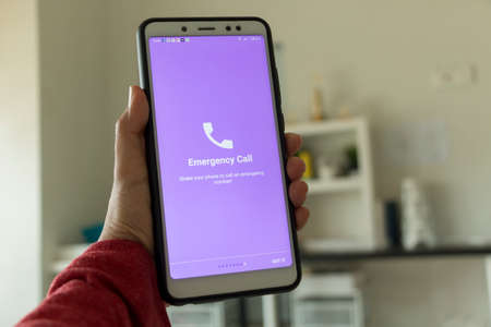 Negeri Sembilan, Malaysia - August 29, 2018: Healthcare application on smartphone. This application eases the user to make an emergency call. Editorial