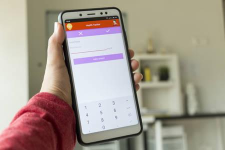Negeri Sembilan, Malaisie - 29 août 2018 : Application de suivi de la santé sur smartphone. C'est pour garder une trace de vos informations de santé. Éditoriale