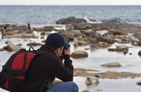 ladoga: photography, sea, sky, stone, sunset, traveling, water, wave, man Stock Photo