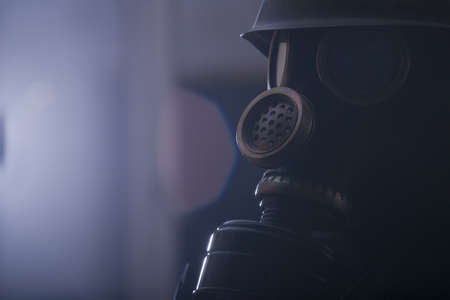 Portrait of man in gas mask Stock Photo - 18658366