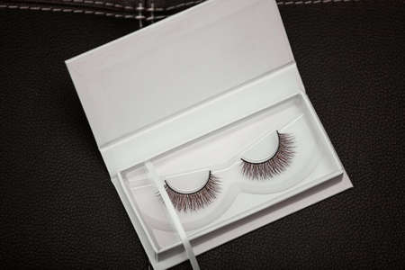 False Eyelashes in box. Stock Photo