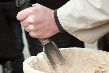 wood carvings: Gouge wood chisel carpenter tool hammer hand