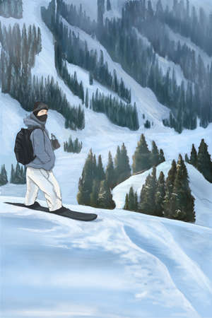 the snowboarder stands on the slopes of the mountains