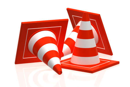 roadblock: traffic cone isolated on white - 3d rendering Stock Photo