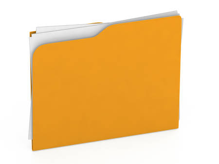 Yellow folder - 3d file -  Icon isolated on white background - 3d rendering