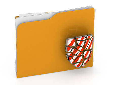 3d illustration of broken security folder - virus concept - 3d rendering - isolated on white background illustration