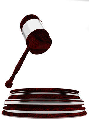 auctioning: Judge gavel with silver decorations - wooden gavel - law concept - isolated on white