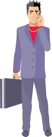 flat businessman with phone