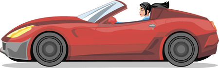female driver: the girl in the car Illustration