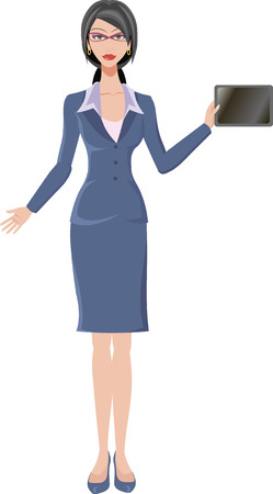 woman tablet: a girl with the tablet business woman Illustration