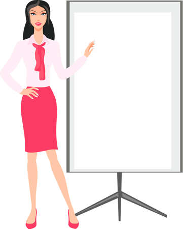 business woman: girl at a banner Business Woman