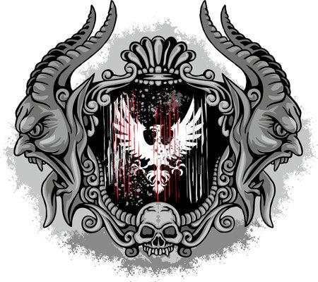adelaar, Gothic wapenschild met schedel, grunge.vintage T-shirts Design Stock Illustratie