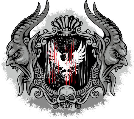 eagle, Gothic coat of arms with skull, grunge.vintage design t-shirts